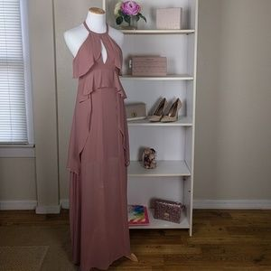 BCBG Mauve Halter Maxi Dress SZ2  NWT